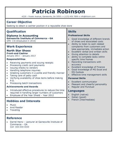 Store Clerk Sample Resume Shoestorecashierresume  Solliciteren  Pinterest  Template