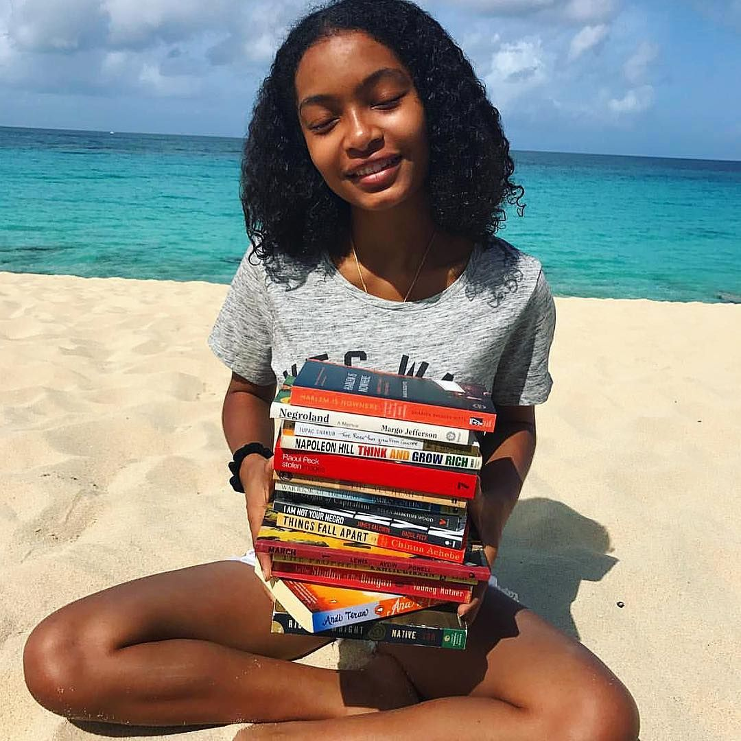 """Yara Shahidi's book stash on vacation is goals! Have you read any of these  gems?""""   Black beauties, African american books, Black is beautiful"""