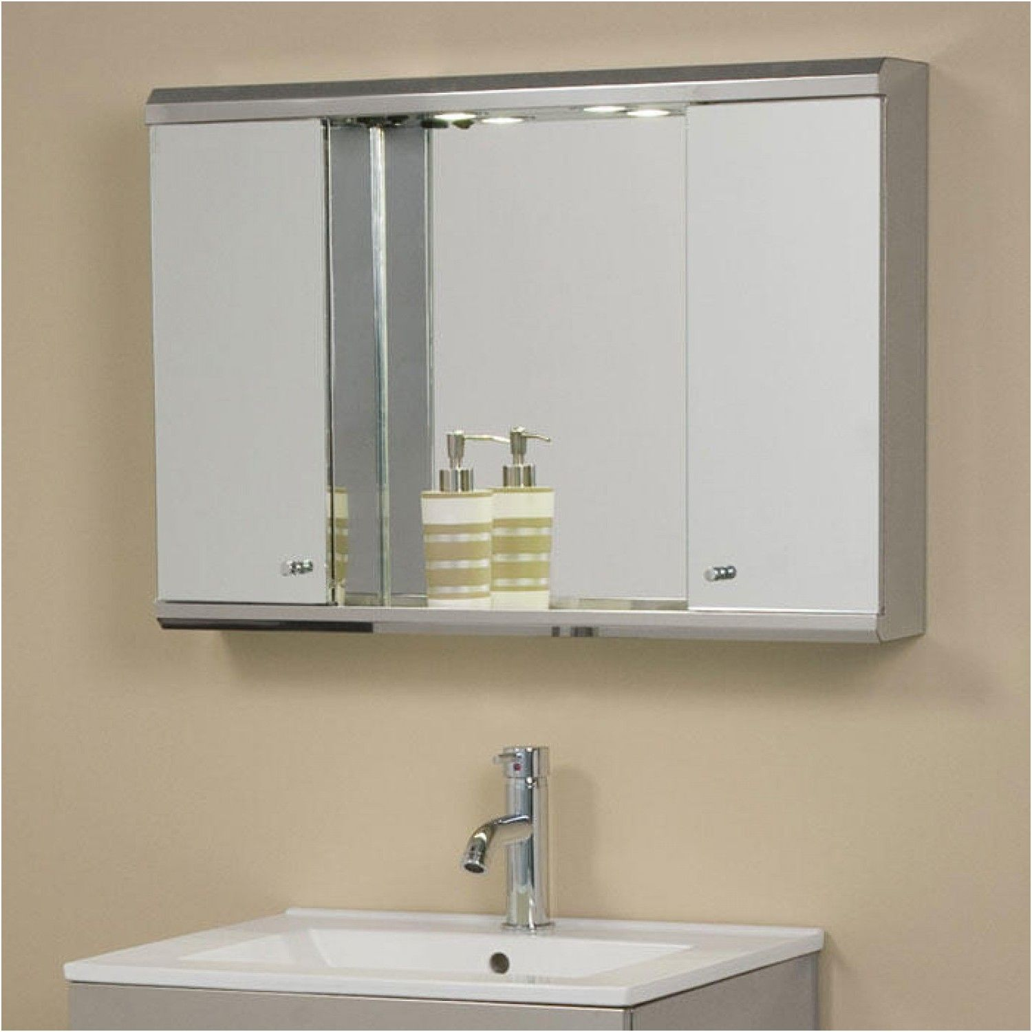 illumine dual stainless steel medicine cabinet with lighted mirror ...