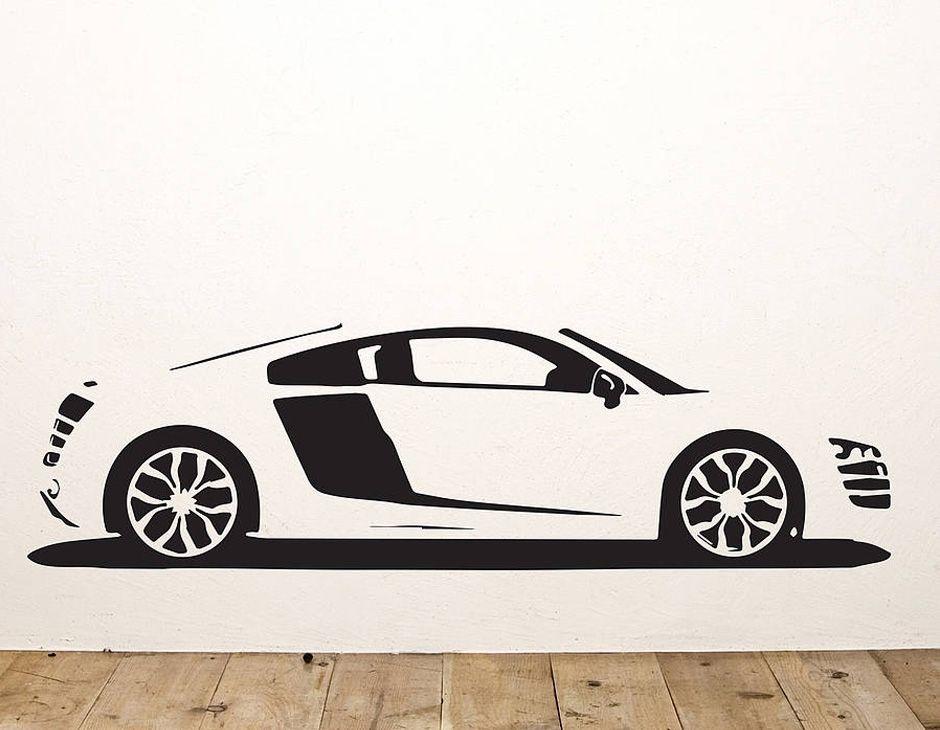 A Replica Vinyl Wall Sticker Of An Audi R Supercar Cars - Wall decals cars