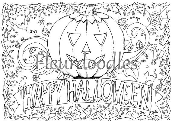 halloween coloring page - Happy Halloween- printable instant ...