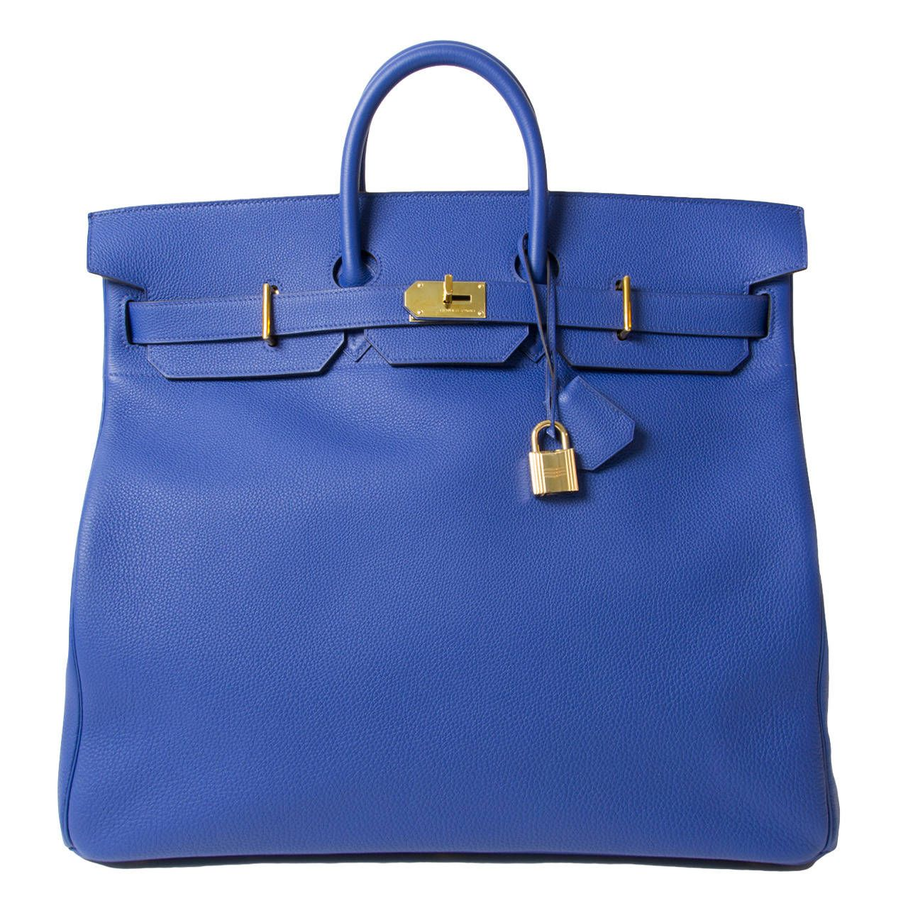 RARE New Hermès HAC Haut à Courroies Birkin 50cm Togo Blue Electrique GHW | From a collection of rare vintage top handle bags at https://www.1stdibs.com/fashion/handbags-purses-bags/top-handle-bags/