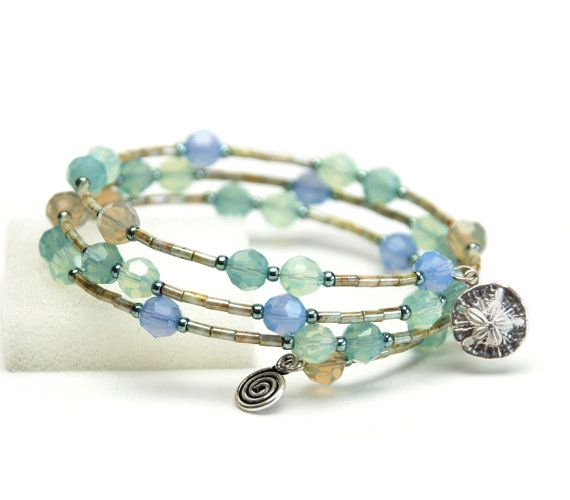 Sea Sky And Sand Memory Wire Bracelet With Sterling Silver