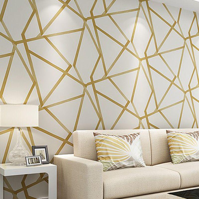 White Teal Beige Gold Geometric Wallpaper Modern Glitter Metallic Wall Paper Luxury For B Geometric Wallpaper Gold Wallpaper Bedroom Geometric Wallpaper Modern