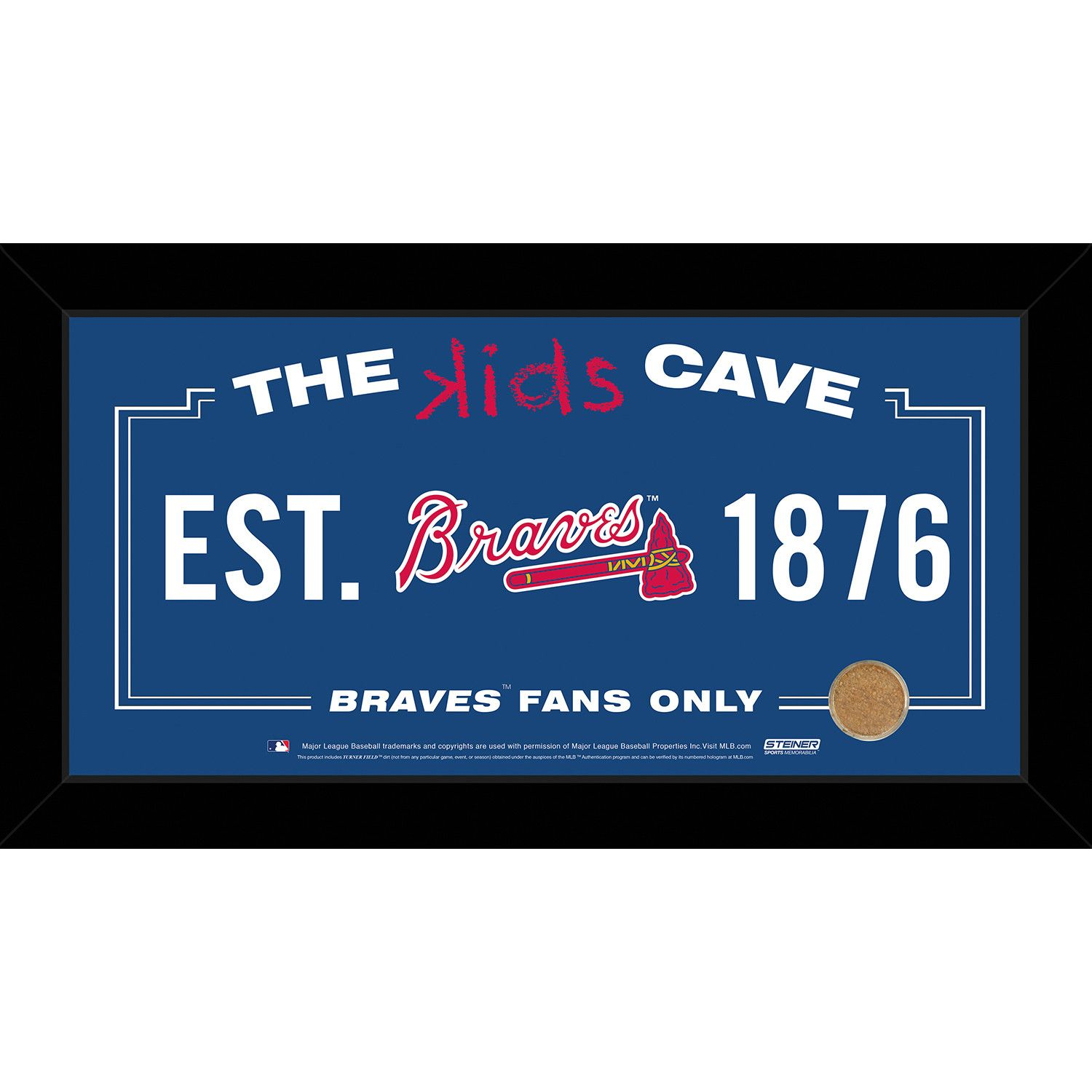 Atlanta braves x kids cave sign w game used dirt from turner
