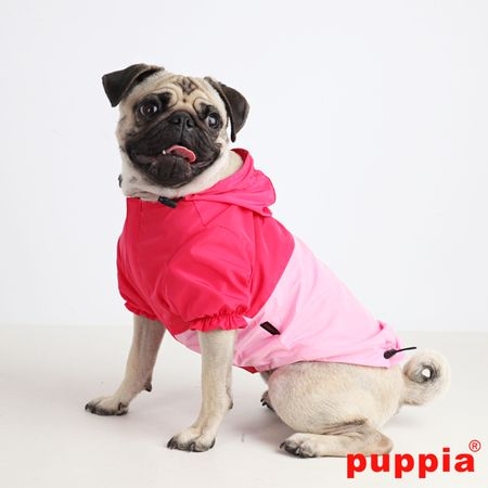 The Paz Dog Raincoat ~ Hooded raincoat with adjustable toggles and, my favourite, a leash hole in the back ~ Bright colours keep your dog safe on dark rainy days | PuppiaUS