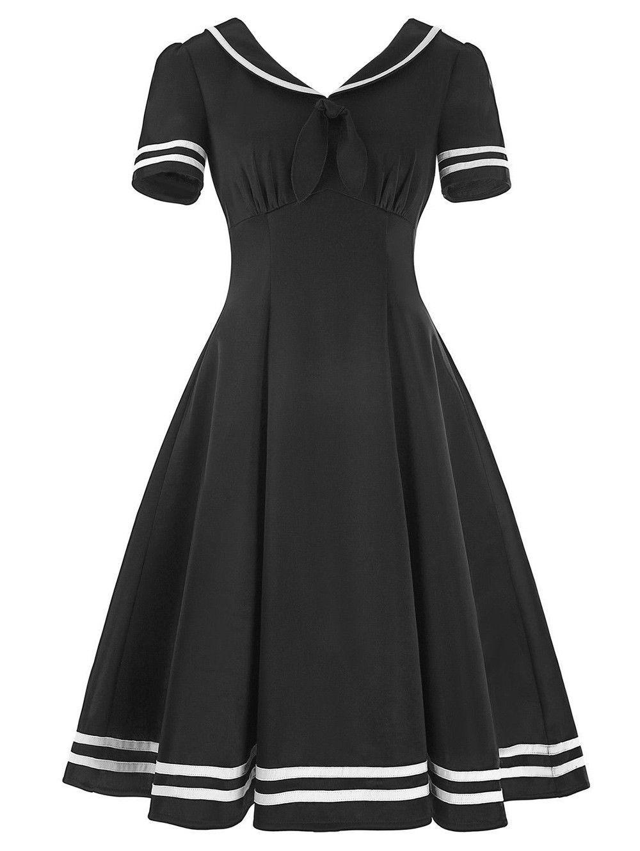 Ladies vintage sailor collar high waist dress stripes panel women