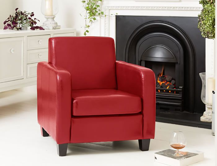 Austria Red Sofa Tub Chair Faux Leather Commercial Quality Single Seater Comfy Office Chair Home Office Furniture Red Sofa