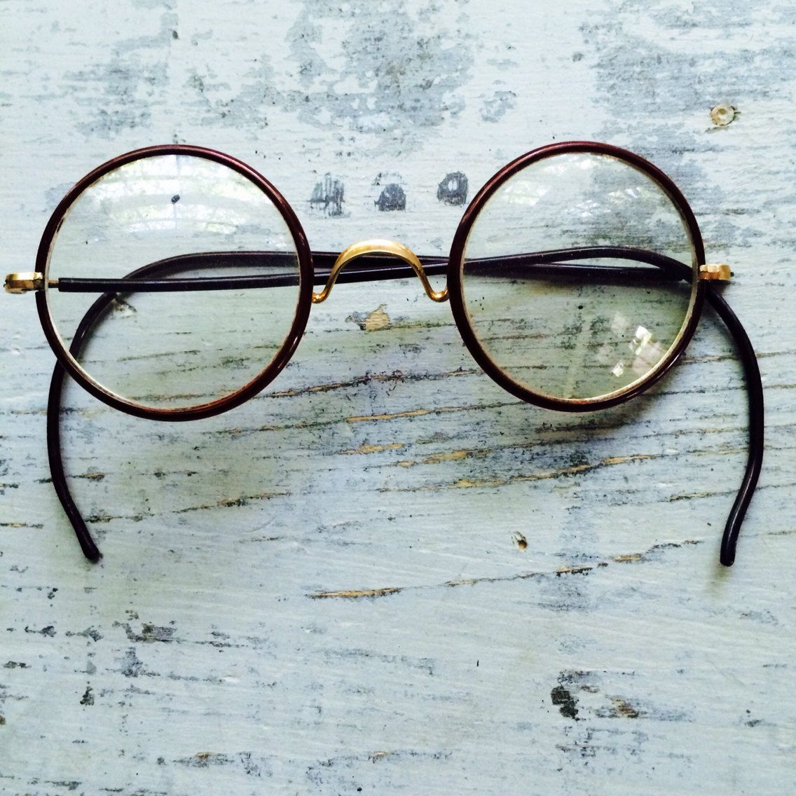 Vintage Round Frame Glasses // MH Harris Wire Rim + Earpiece ...
