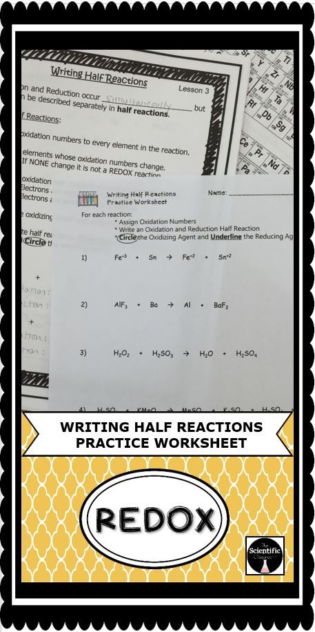 Students Will Be Practicing Writing Half Reactions For A Redox