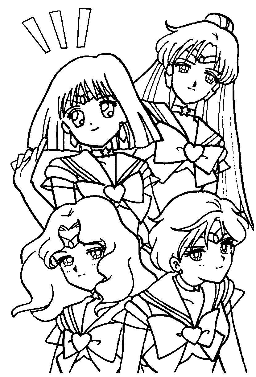 The Outer Senshi Coloring Page // #sailormoon   Sailor Moon ...