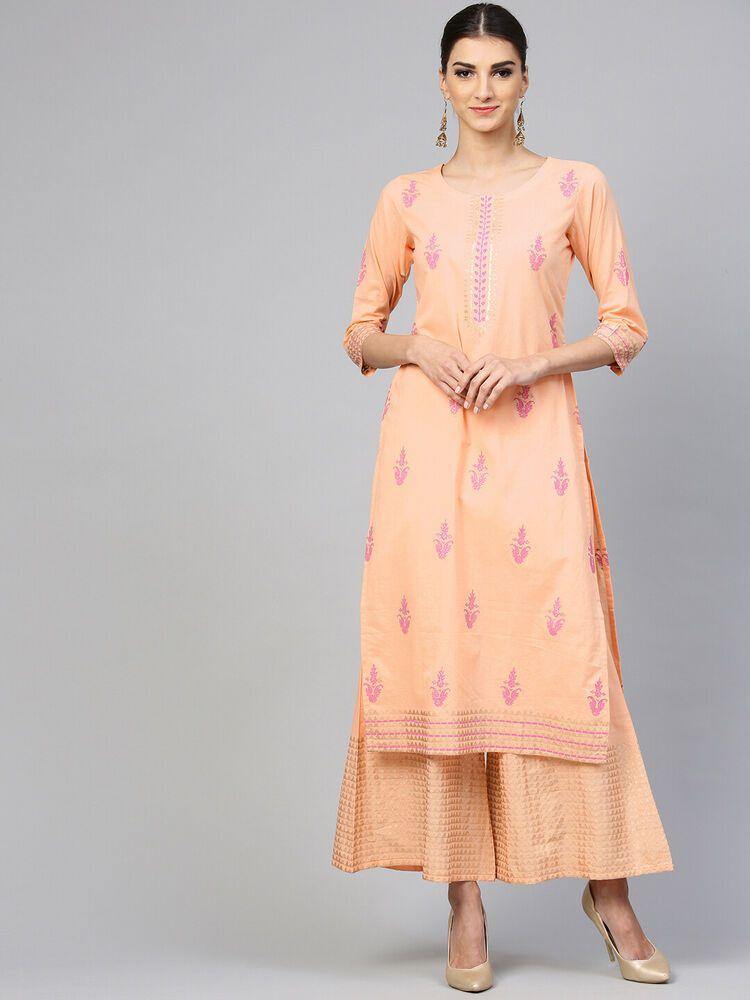 Indian Kurta with Bottom Palazzo pink Kurti Dress Set Women Ethnic Top Tunic New