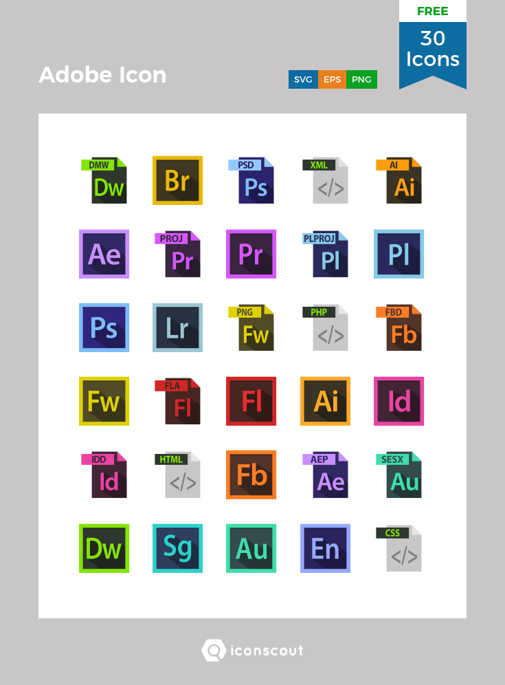 Download Adobe Icon Free Icon Pack - 30 Flat Icons | Icon pack ...