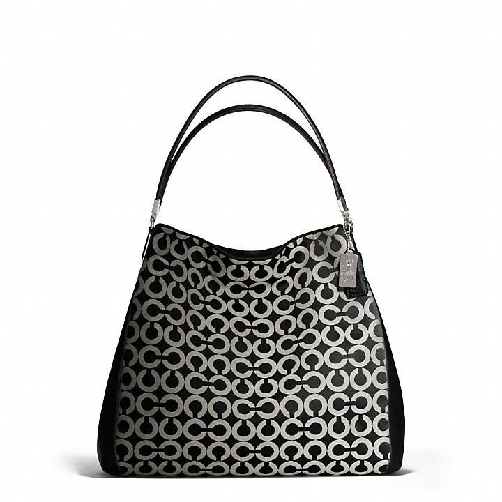 b80a7c171cb8 Coach Madison Phoebe Shoulder Bag In Op Art Sateen Fabric on shopstyle.com