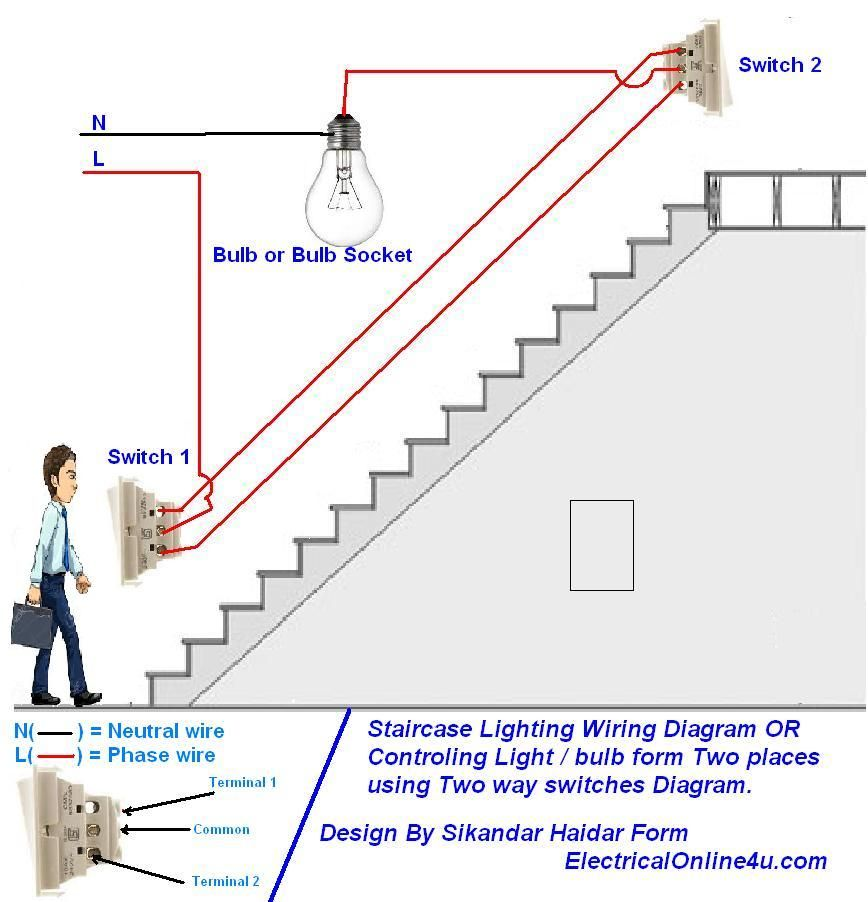 How To Control A Lamp Light Bulb From Two Places Using Two Way Switches For Staircase Lighting Circui Home Electrical Wiring Diy Electrical Electrical Wiring