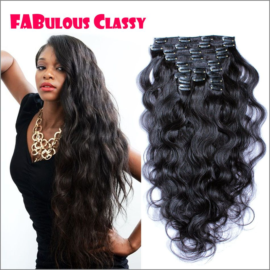 African American Clip In Human Hair Extension Clip On Human Hair