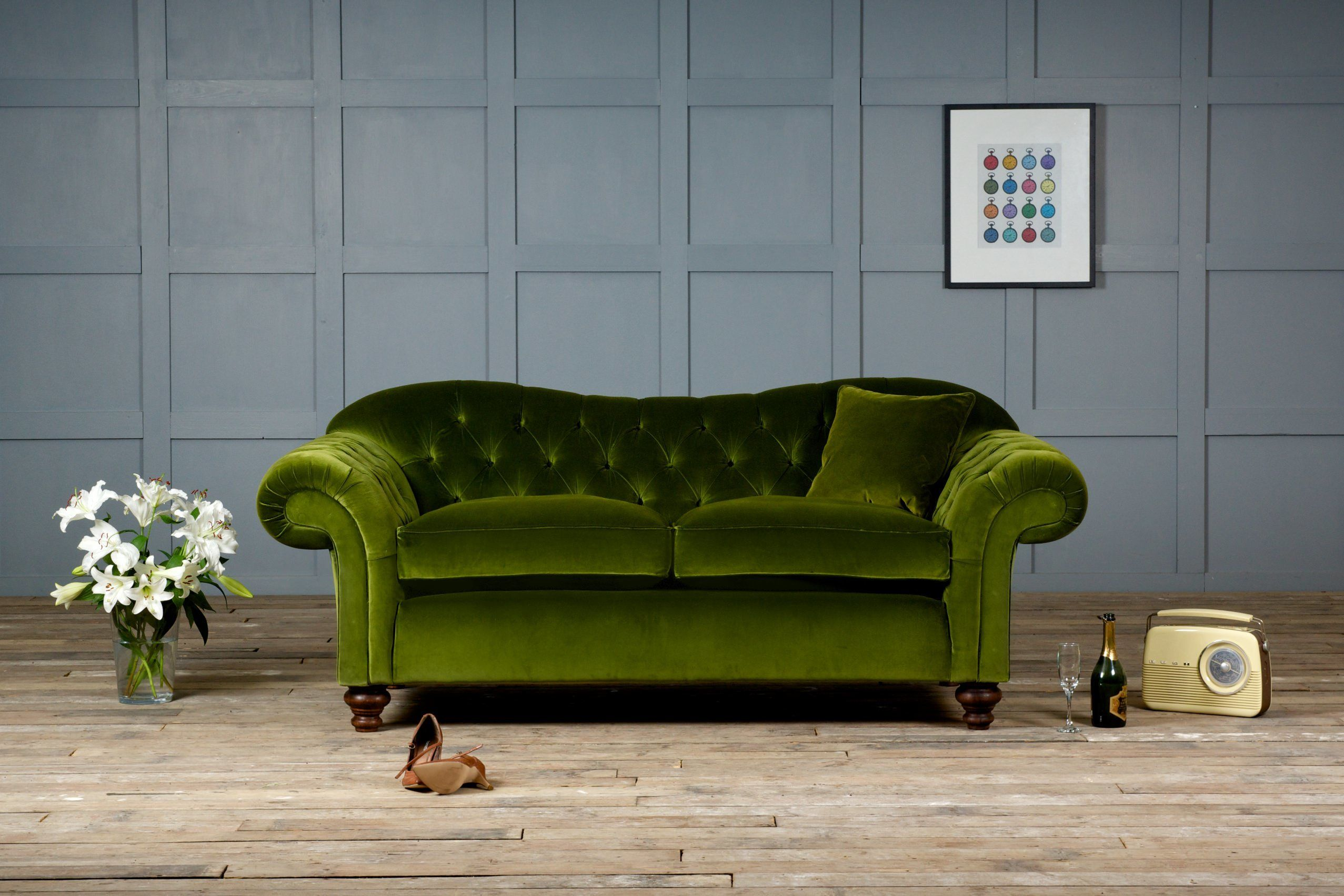 Attractive Green Velvet Sofa With Armchairs For Living Room ...