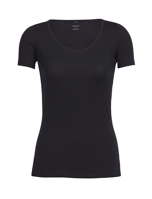 Women's Siren Short Sleeve Sweetheart Neck Undershirt - Merino Wool - Black - CD11ZYVVM4F - Sports &...