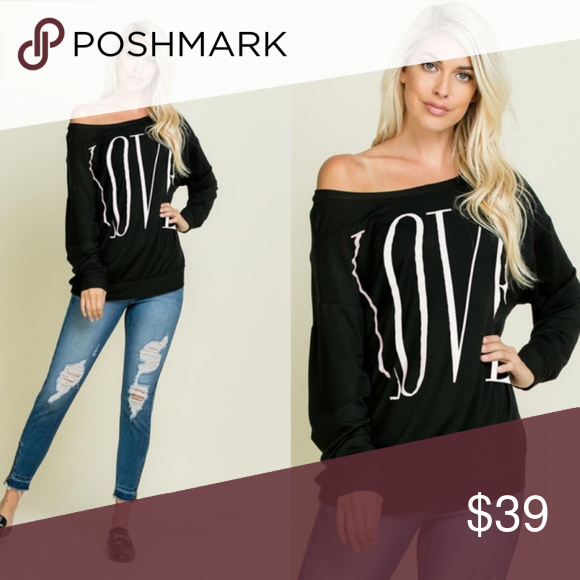 0de15a2ca4de1c LOVE Off Shoulder Long Sleeve Top - BLACK Super chic in black long sleeve  comfy fit top. NO TRADE PRICE FIRM Bellanblue Tops