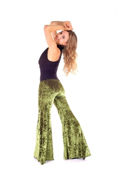 These sexy Crush Velvet green bell bottom pants look amazing on women and are oh so comfortable! They come in many different colors too!