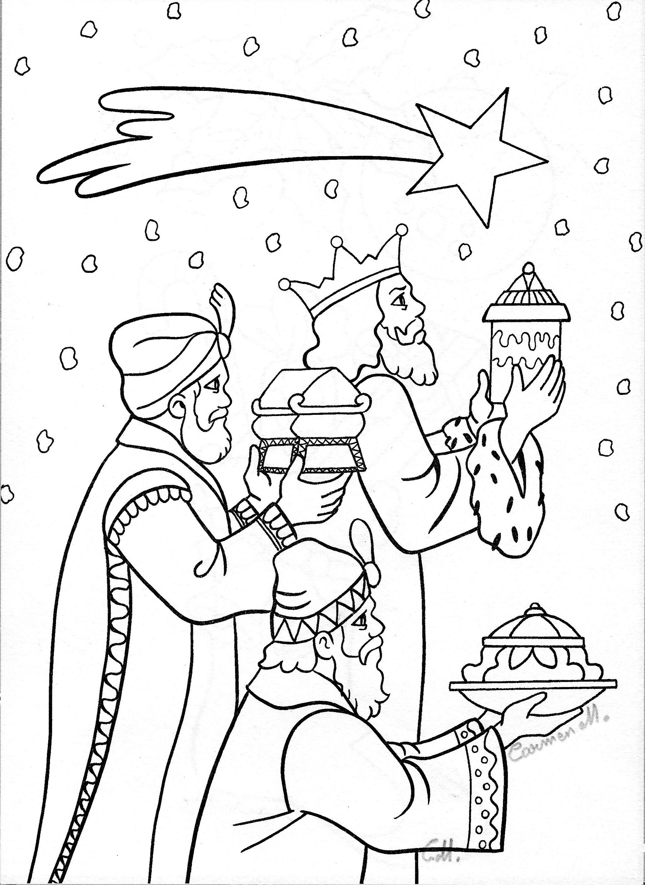 Three Wisemen Following Star Nativity Coloring Pages Sunday