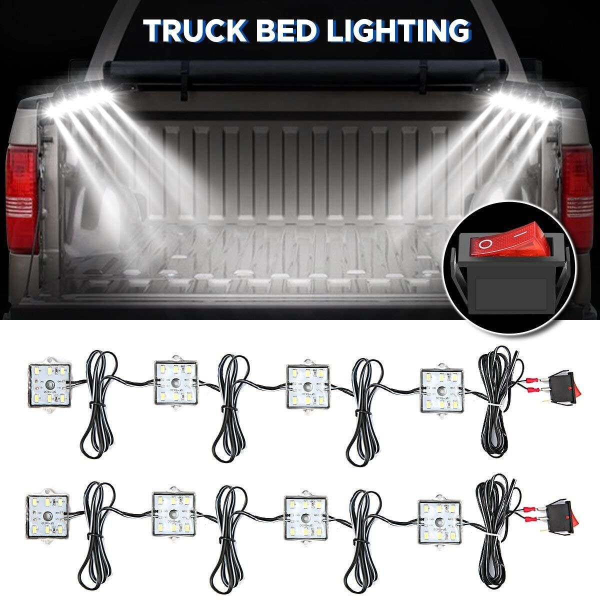 Audew Truck Bed Light Strips 2Pcs 4 Pods 2400