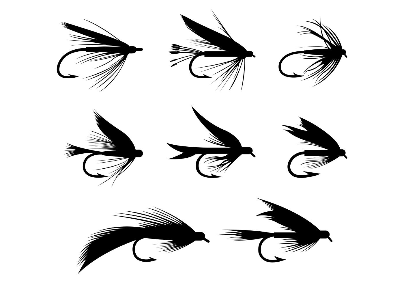 Silhouette Of Fly Fishing Lures Hook Vector Choose From Thousands Of Free Vectors Clip Art Designs Icons And Fly Fishing Tattoo Fish Silhouette Fly Fishing