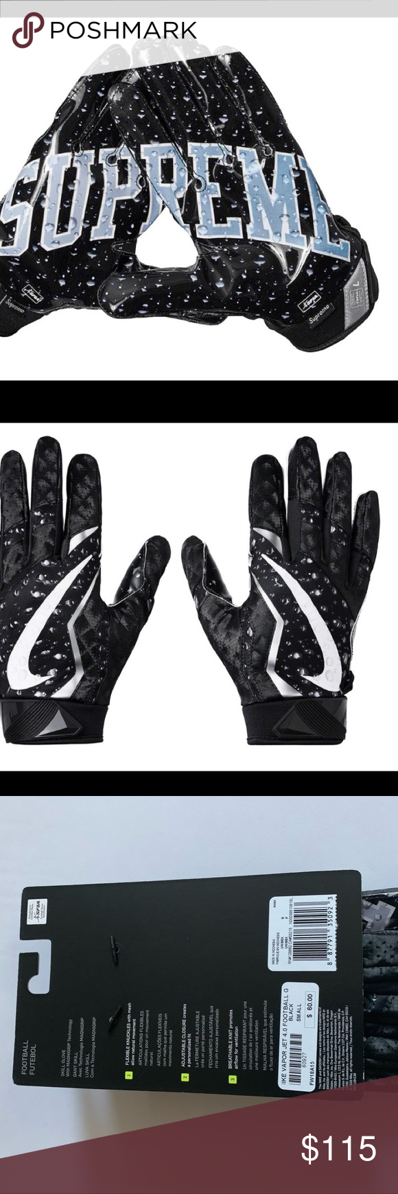 Supreme Nike Vapor Jet 4 0 Receiver Gloves Small New Nwt Brand New 100 Authentic Bought From Supreme Supreme Accessories Clothes Design Fashion Design