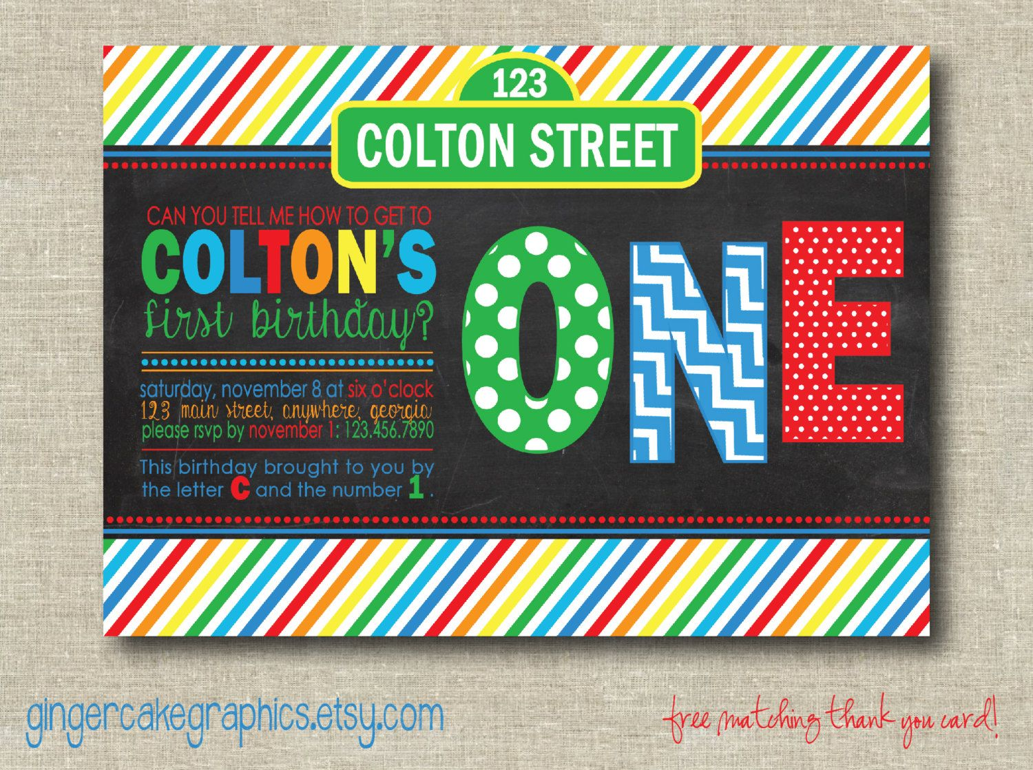 Sesame Street First Birthday Invitations | Party Ideas for Kids ...