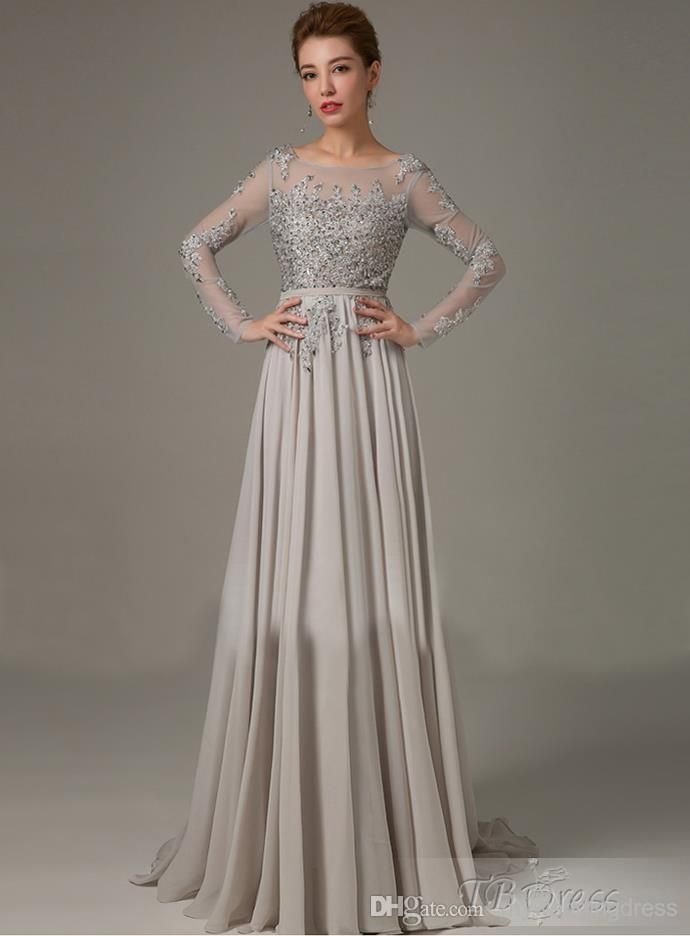 50fbd30d3ff New Mother of The Bride Groom Dresses Grey With Long Sleeves Crystals 2015 Formal  Chiffon Sexy Plus Size Lace Dress Evening Gowns Pant Suit Online with ...
