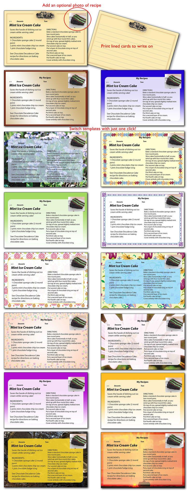 Card Templates Recipe Cards Template Recipe Cards Printable Recipe Cards