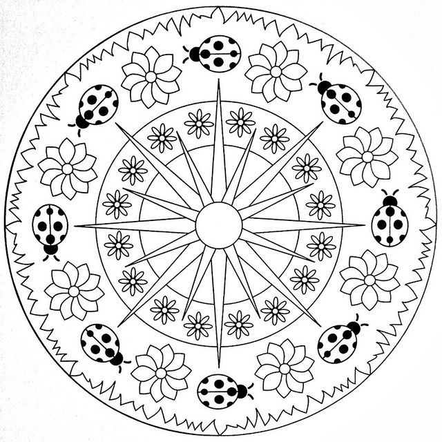 Mandala Coloring Page Ladybugs By Moldovancsaba Via Flickr