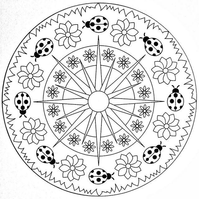 Mandala Coloring Page - Ladybugs | Mandalas, Mariquita y Mandala ...