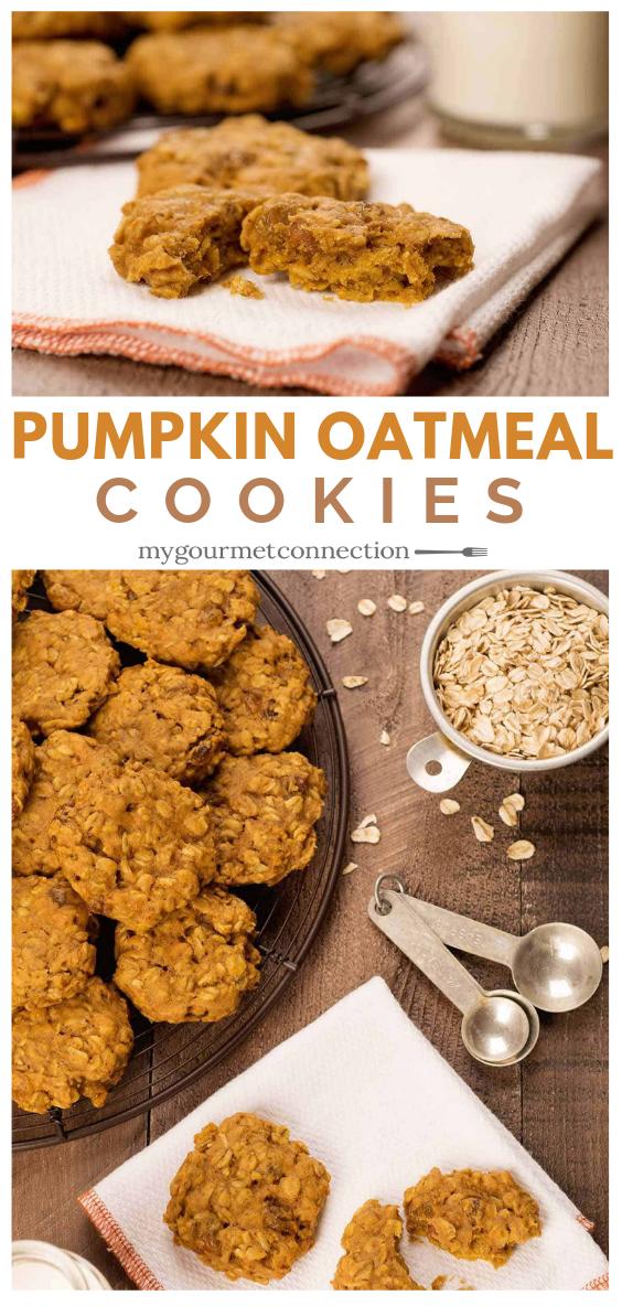 Pumpkin Oatmeal Cookies #pumpkinpureerecipes