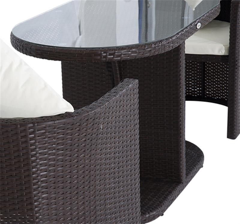 Outsunny 3pc Table And Chair Rattan Wicker Patio Furniture