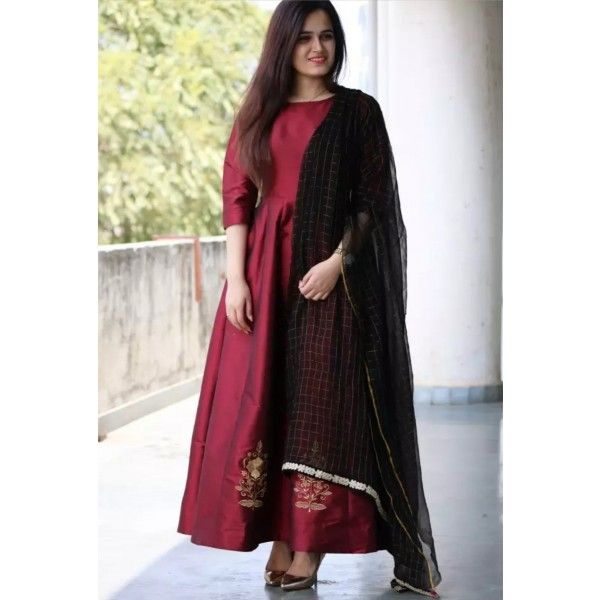 Poly Silk Maroon Plain Semi Stitched Long Anarkali Suit - ZOY1082 ...