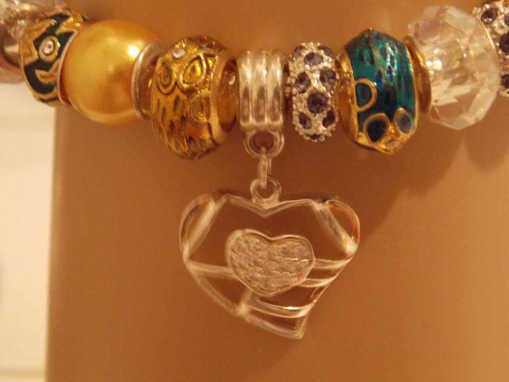 Bracelet Paved Diamond Heart. 8 Faberge 22kt Gold Crystal Studded Charm .925 #Handmade #European