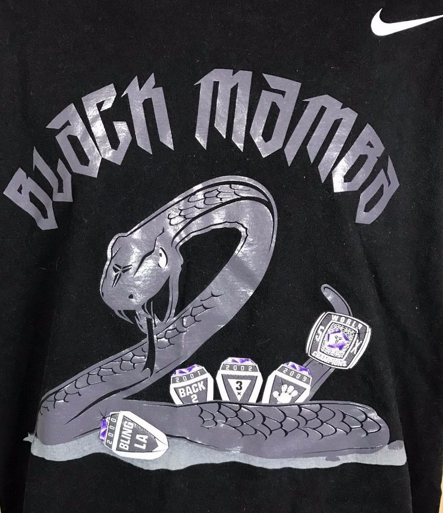 the latest 7c8aa d654b Nike Kobe Bryant Black Mamba V 5 Rings Black T-Shirt Mens L Championship  Lakers  Nike  GraphicTee