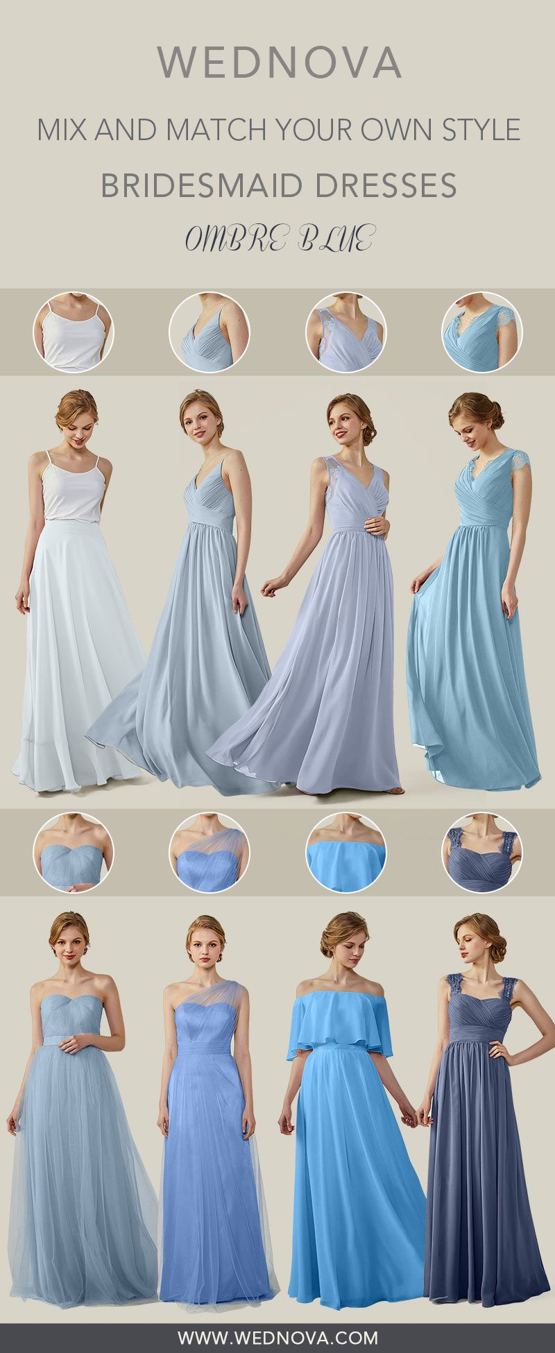Ombre blue chiffon bridesmaid dresses one shoulder tulle dress v