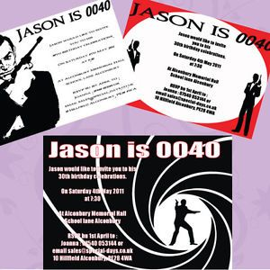 James bond 007 personalised birthday party invitations 18th 21st james bond 007 personalised birthday party invitations 18th 21st 30th 40th 50th stopboris Choice Image