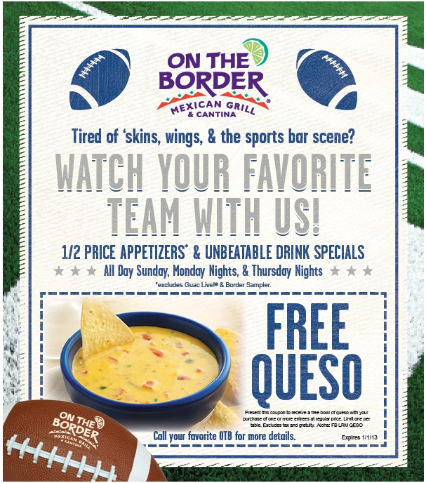 graphic about On the Border Printable Coupons called Cost-free queso appetizer with your entree at Upon The Border