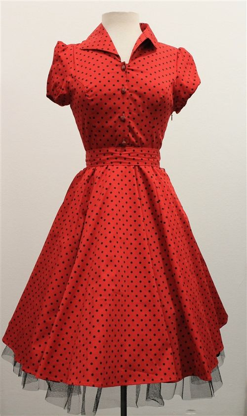 f8f94c04ccb1 H   R London Red   Black Small Polka Dot 50 s Swing Dress