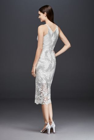 Plunging Sheath Dress With Sequin Lace Overlay 13381199