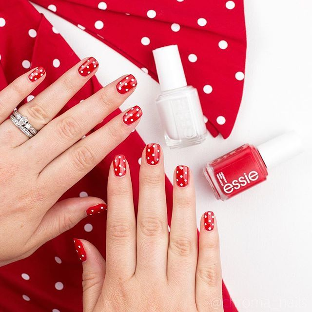 pretty polka dot nail art -- simple dottier mani using essie red ...