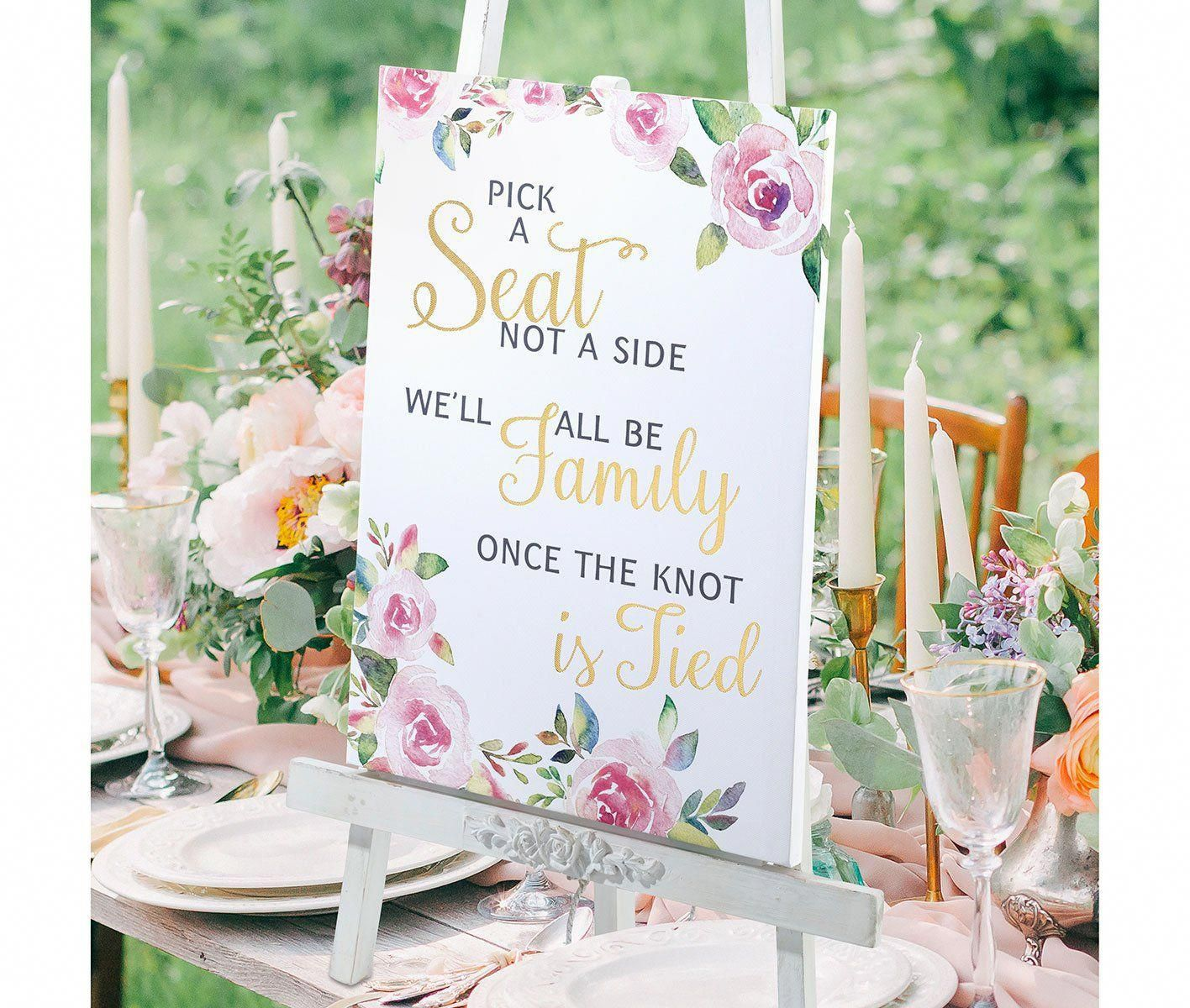 Ceremony Seating Reception: Watercolor Wedding Ceremony Seating Sign