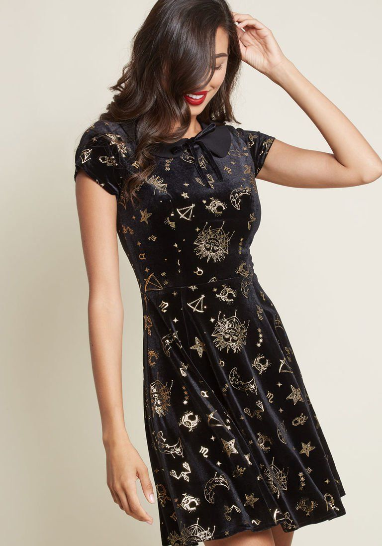 Collectif x MC Applied Astrology Velvet Skater Dress in 20 (UK) - Short  Sleeve A-line Midi by Collectif from ModCloth c5c3c0bce