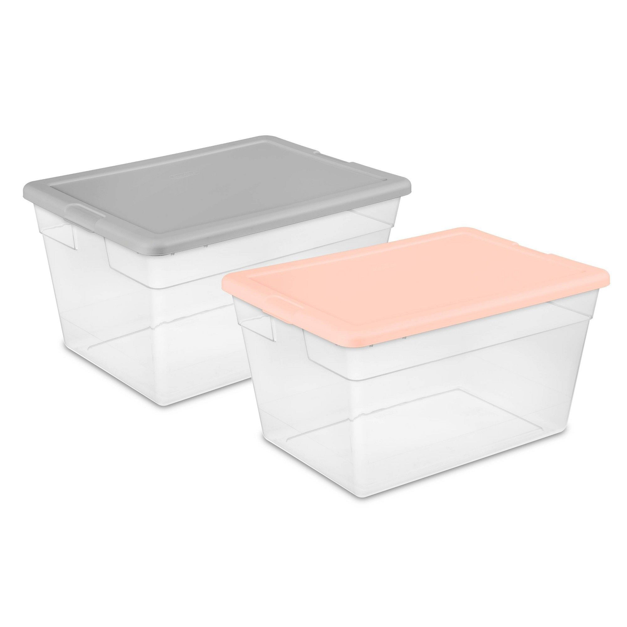 Swell 56Qt Clear Storage Bin With Feather Peach Or Gray Assorted Uwap Interior Chair Design Uwaporg