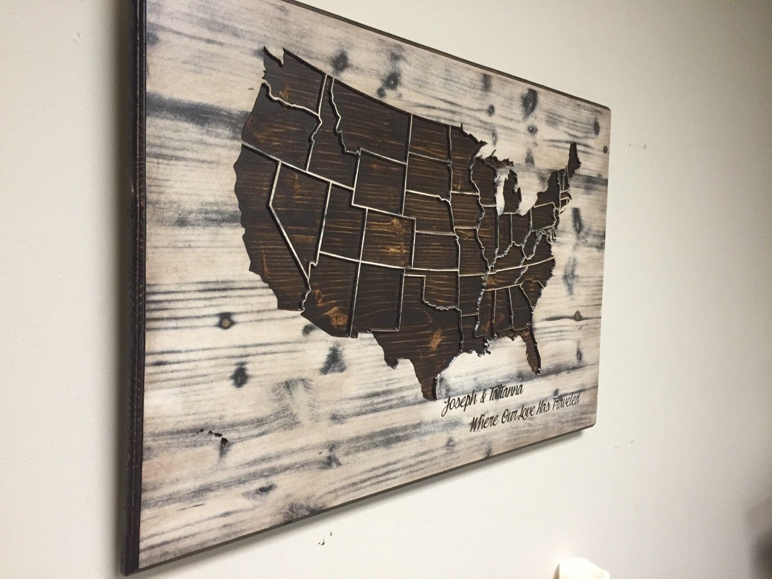 Wood us map wall art carved united states map us map with states world map wall art spiritual vintage carved wood map by howdyowl gumiabroncs Image collections