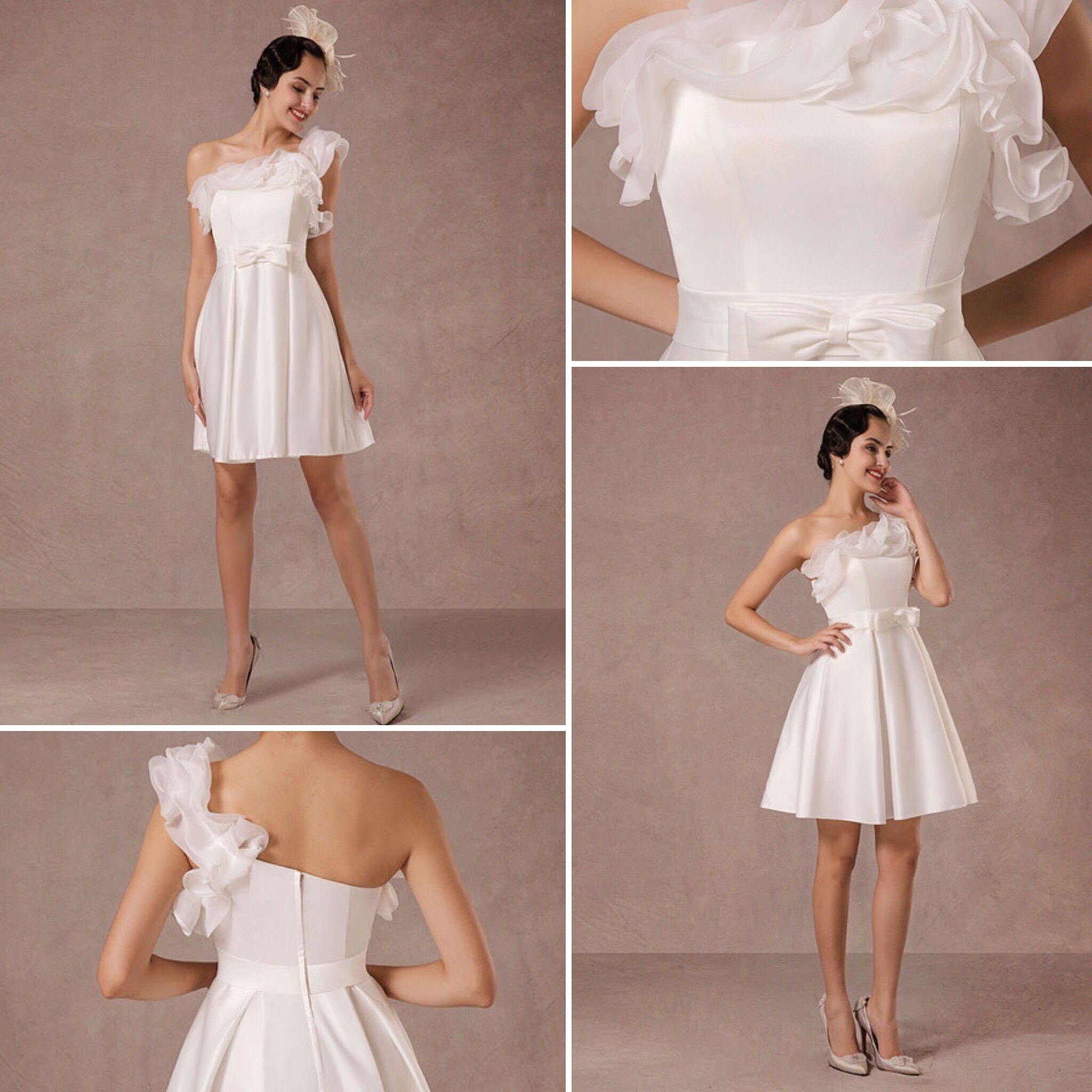 Short Wedding Dress Organza A-line One-shoulder Ruffles Satin Mini ...