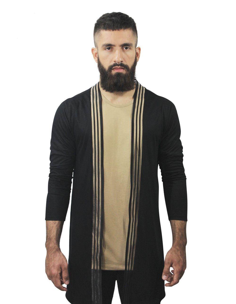 076df6b3d3a18 Cardigan Masculino Long Line Preto com transparente. Camiseta transparente.